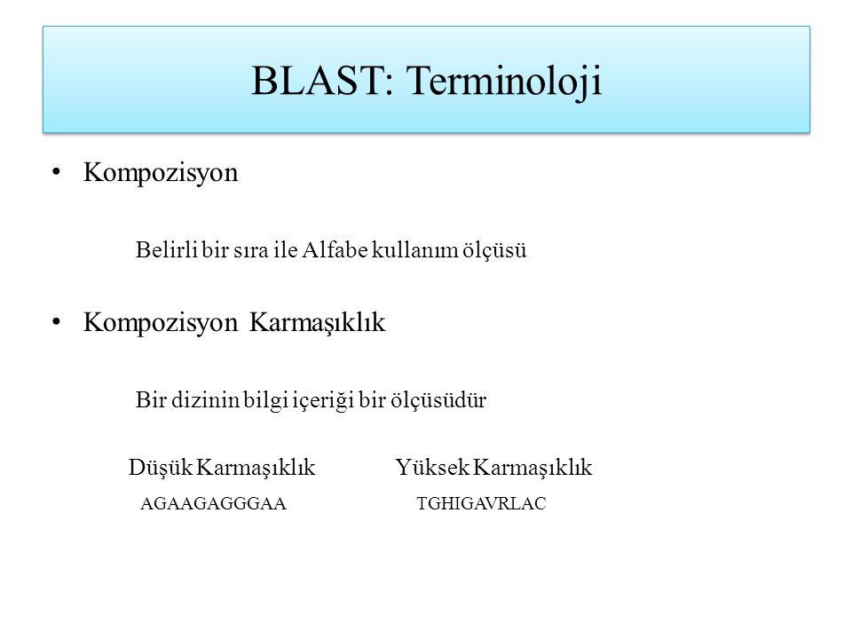 BLAST: Terminoloji Kompozisyon Belirli bir sıra ile Alfabe kullanım ölçüsü Kompozisyon Karmaşıklık Bir dizinin bilgi içeriği bir ölçüsüdür Düşük Karma