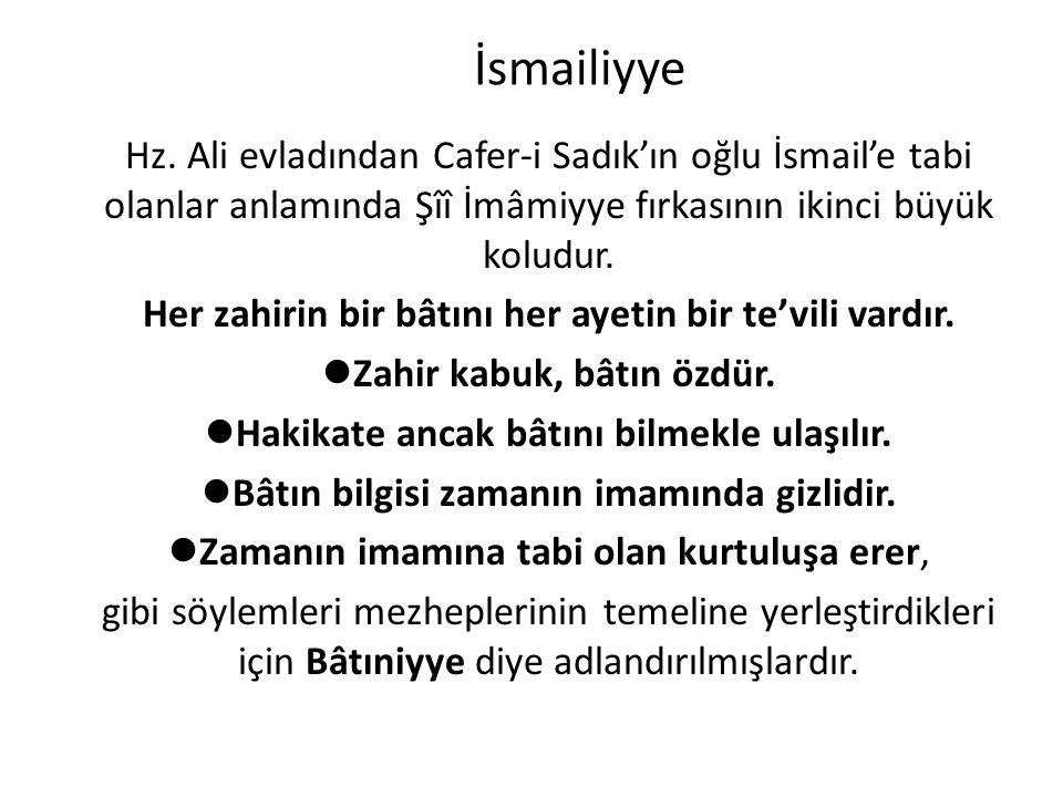İsmailiyye Hz. Ali evladından Cafer-i Sadık'ın oğlu İsmail'e tabi olanlar anlamında Şîî İmâmiyye fırkasının ikinci büyük koludur. Her zahirin bir bâtı