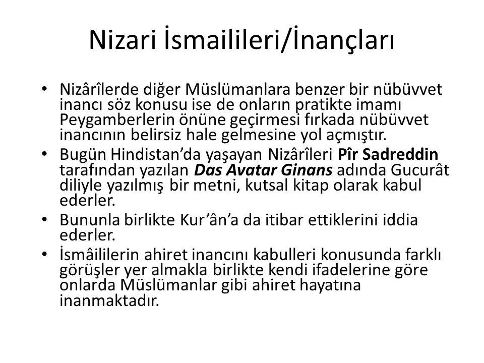 Nizari İsmailileri/İnançları Nizârîlerde diğer Müslümanlara benzer bir nübüvvet inancı söz konusu ise de onların pratikte imamı Peygamberlerin önüne g
