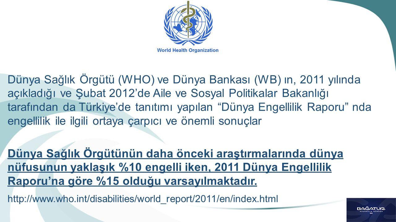 Dünya Sağlık Örgütü (WHO) ve Dünya Bankası (WB) ın, 2011 yılında açıkladığı ve Şubat 2012'de Aile ve Sosyal Politikalar Bakanlığı tarafından da Türkiy