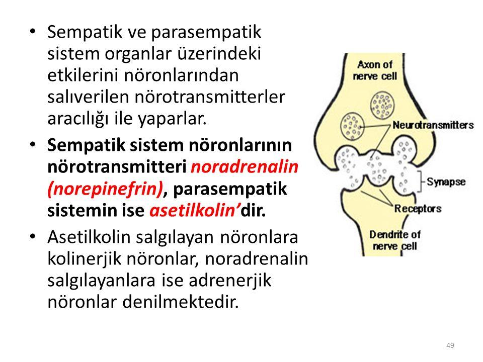 Sempatik ve parasempatik sistem organlar üzerindeki etkilerini nöronlarından salıverilen nörotransmitterler aracılığı ile yaparlar. Sempatik sistem nö