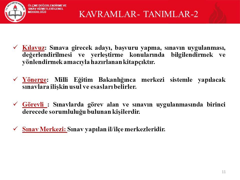 11 KAVRAMLAR- TANIMLAR-2 Kılavuz: Sınava girecek adayı, başvuru yapma, sınavın uygulanması, değerlendirilmesi ve yerleştirme konularında bilgilendirme