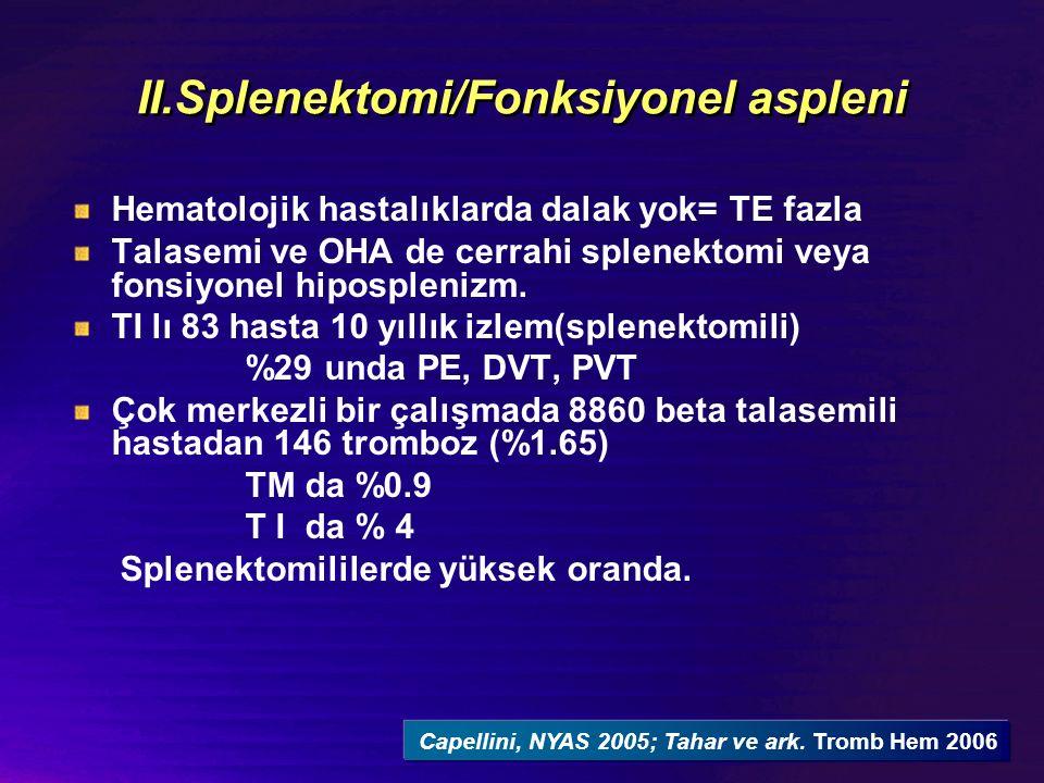 II.Splenektomi/Fonksiyonel aspleni Hematolojik hastalıklarda dalak yok= TE fazla Talasemi ve OHA de cerrahi splenektomi veya fonsiyonel hiposplenizm.