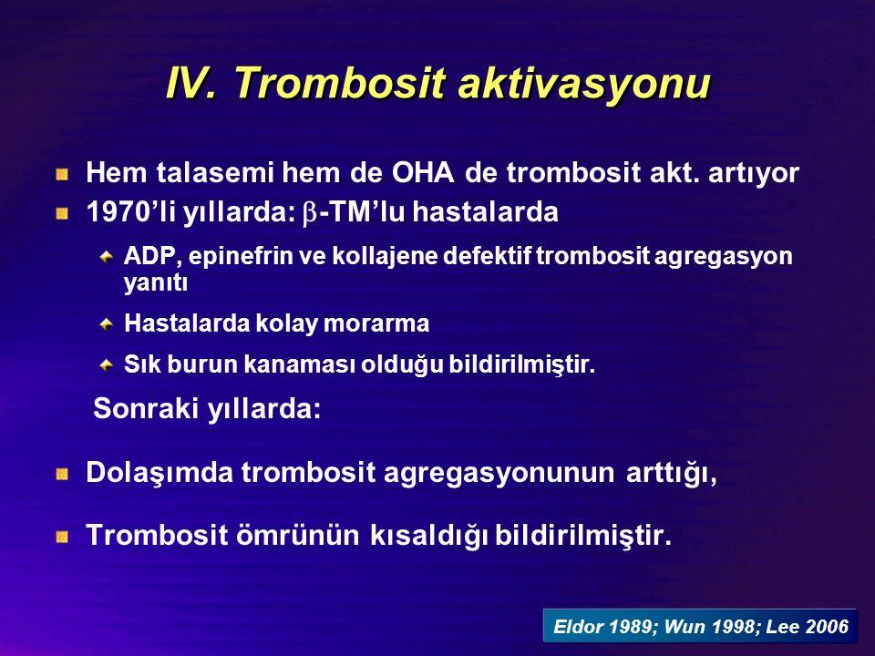 IV. Trombosit aktivasyonu Hem talasemi hem de OHA de trombosit akt.