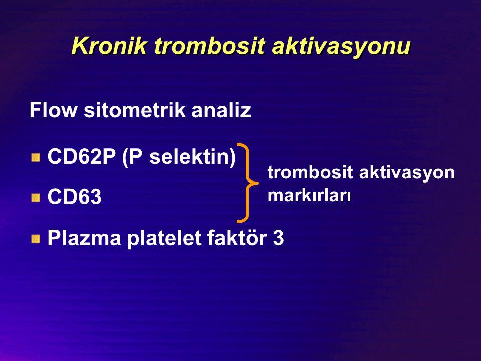 Kronik trombosit aktivasyonu Flow sitometrik analiz CD62P (P selektin) CD63 trombosit aktivasyon markırları Plazma platelet faktör 3 