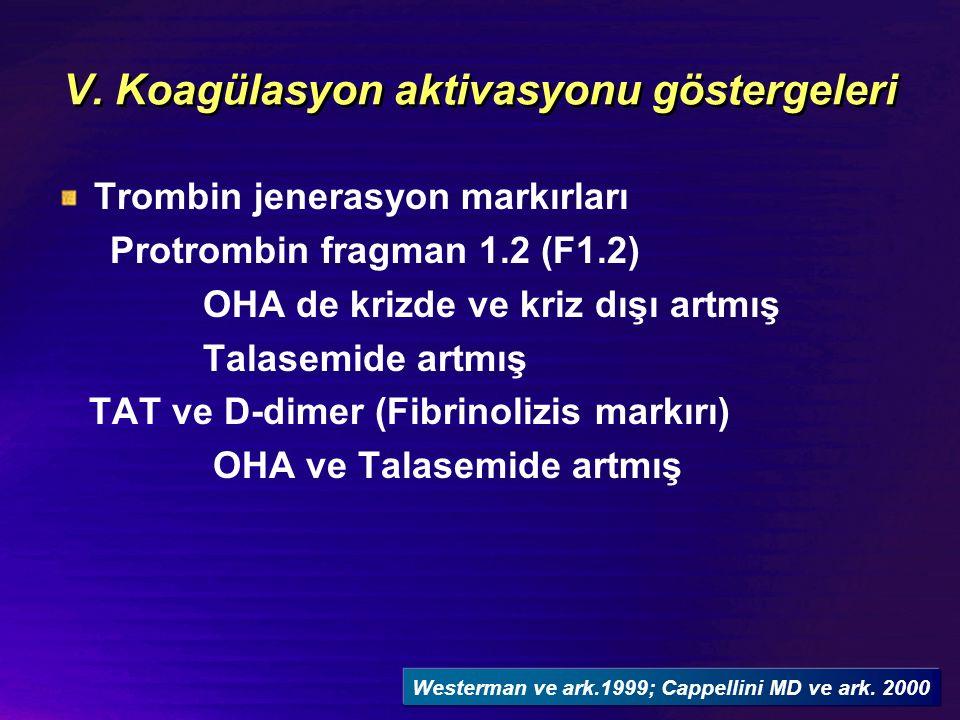 V. Koagülasyon aktivasyonu göstergeleri Trombin jenerasyon markırları Protrombin fragman 1.2 (F1.2) OHA de krizde ve kriz dışı artmış Talasemide artmı