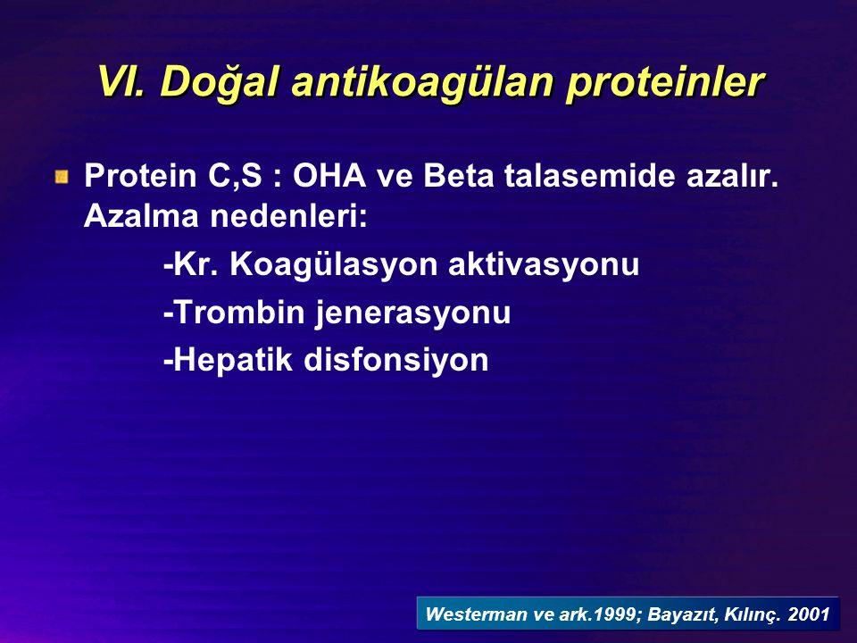 VI. Doğal antikoagülan proteinler Protein C,S : OHA ve Beta talasemide azalır.