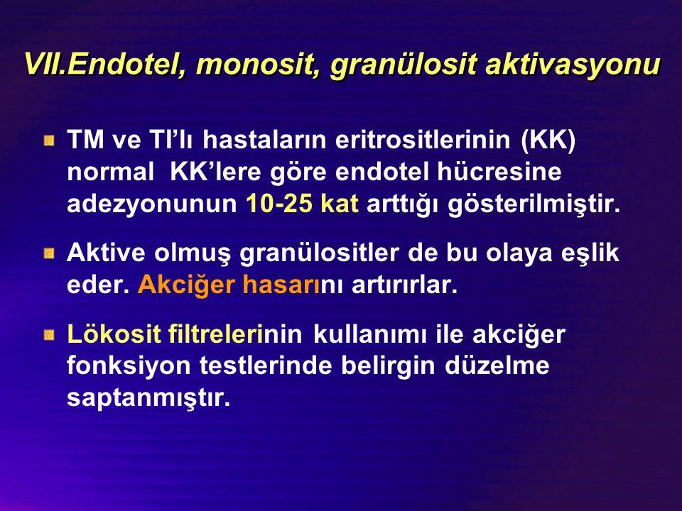 VII.Endotel, monosit, granülosit aktivasyonu TM ve TI'lı hastaların eritrositlerinin (KK) normal KK'lere göre endotel hücresine adezyonunun 10-25 kat arttığı gösterilmiştir.