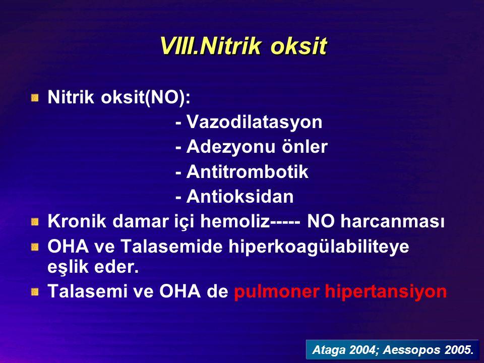 VIII.Nitrik oksit Nitrik oksit(NO): - Vazodilatasyon - Adezyonu önler - Antitrombotik - Antioksidan Kronik damar içi hemoliz----- NO harcanması OHA ve Talasemide hiperkoagülabiliteye eşlik eder.