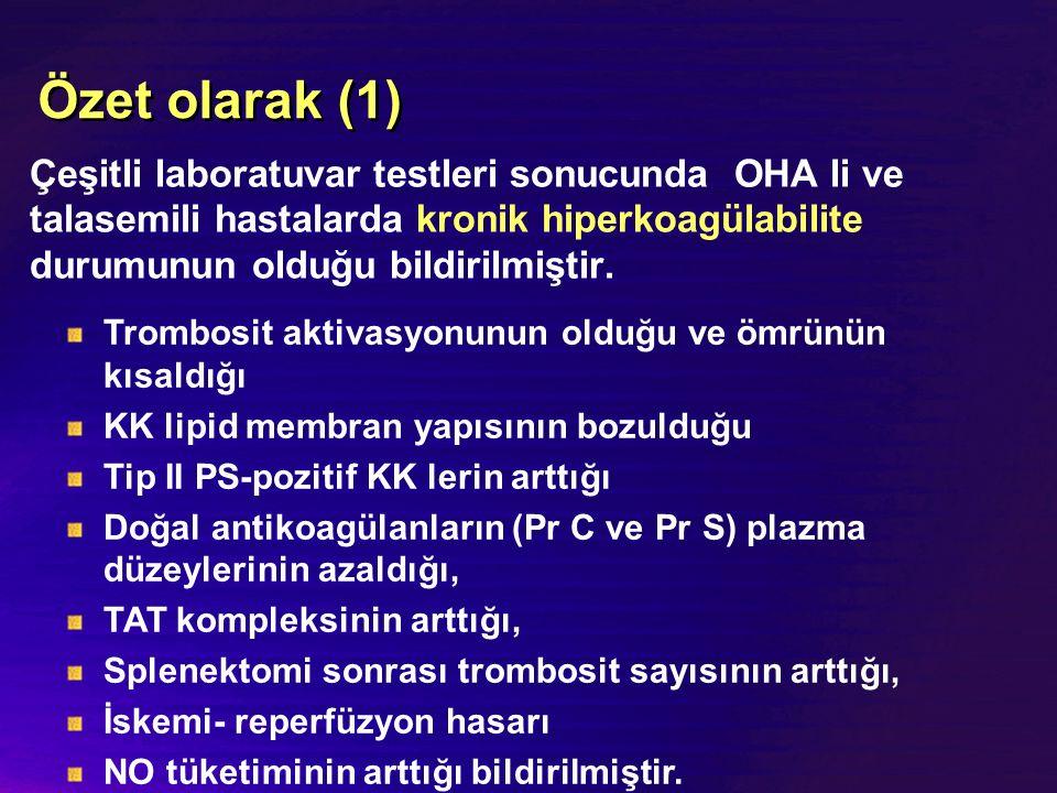 Özet olarak (1) Çeşitli laboratuvar testleri sonucunda OHA li ve talasemili hastalarda kronik hiperkoagülabilite durumunun olduğu bildirilmiştir.