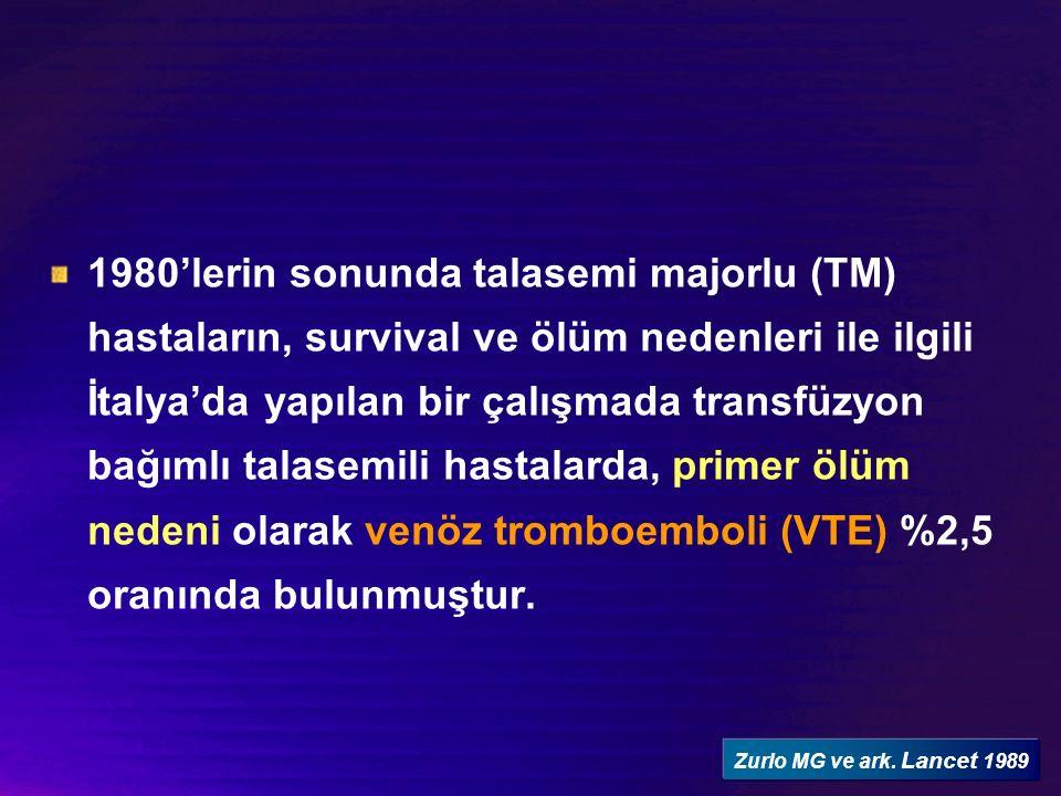 Ülkemizde yapılan 11 merkezli bir çalışmada (The Turkish Thalassemia Study Group) talasemi majorlu (TM) ve talasemi intermedialı (TI) hastalarda tromboemboli insidansı %3.27 olarak bildirilmiştir.