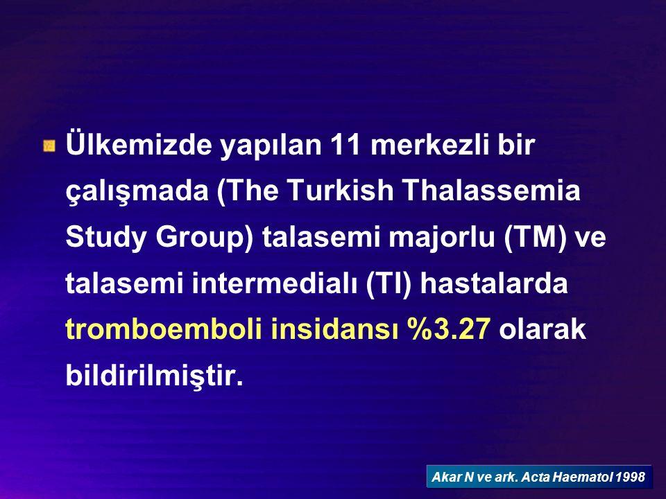 Talasemi Majorlu hastalarda genetik risk faktörleri FVL mutasyonu Heterozigotluk %17, homozigotluk %2 Kontrol (n=70) heterozigotluk %14, homozigotluk %0 Protrombin gen mutasyonu Heterozigotluk %2 Kontrol (n=70) heterozigotluk %3 MTHFR C677T Talasemi grubunda….CC %40, CT %52, TT %8 Kontrol grubunda……CC %52, CT %41, TT %5.7 EPCR polimorfizmi talasemili hastalarda (-)