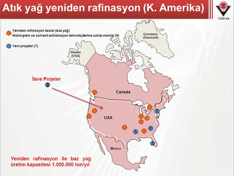 TÜBİTAK Canada Mexico Alaska (USA) Greenland ( Denmark ) 1 1 1 3 İlave Projeler 1 USA Atık yağ yeniden rafinasyon (K. Amerika) Yeniden rafinasyon tesi