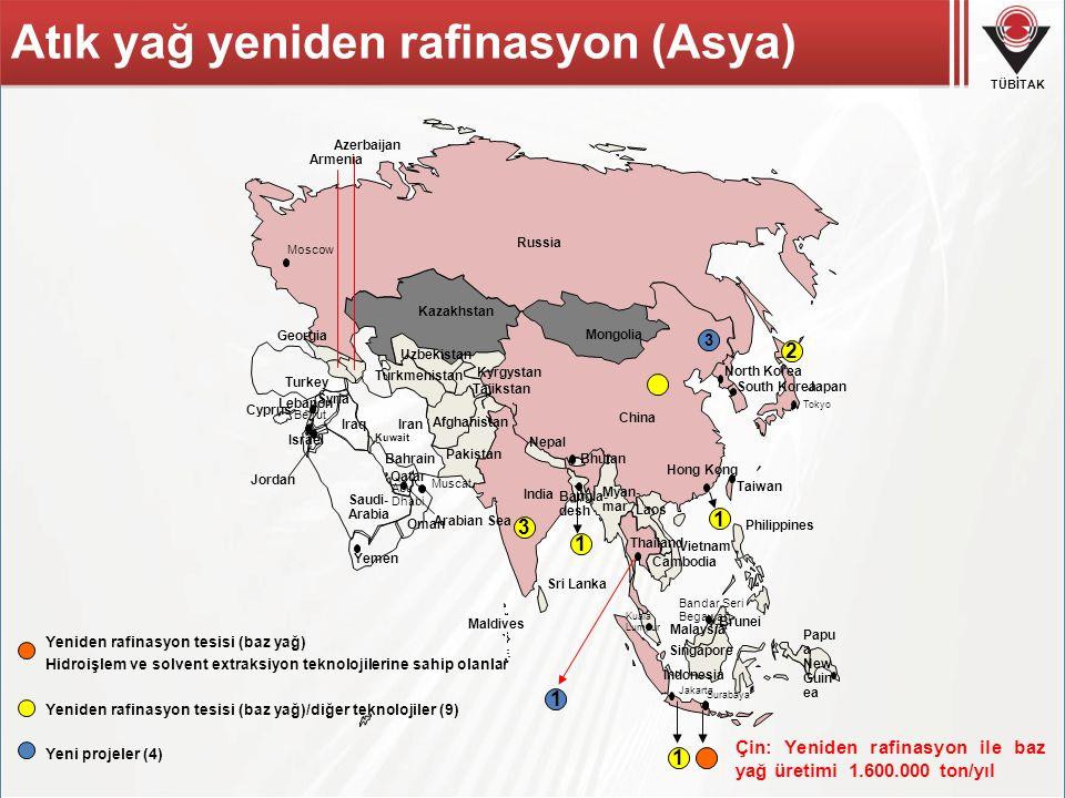TÜBİTAK 2 1 Hong Kong 1 Surabaya 1 1 3 3 Atık yağ yeniden rafinasyon (Asya) Yeniden rafinasyon tesisi (baz yağ) Hidroişlem ve solvent extraksiyon tekn