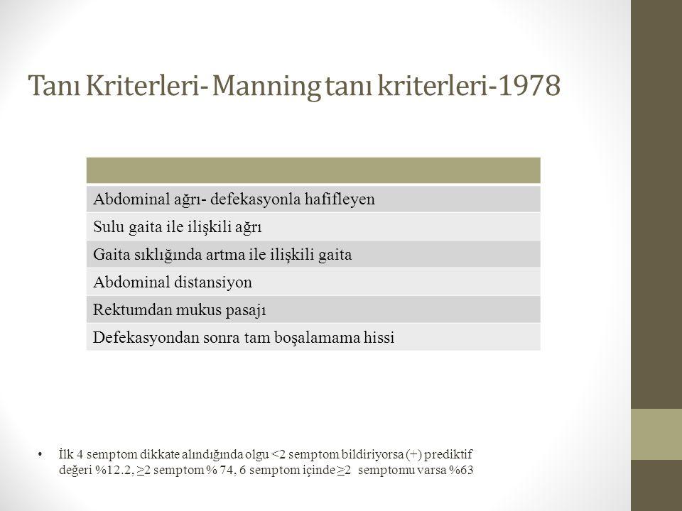 Tanı Kriterleri- Manning tanı kriterleri-1978 Abdominal ağrı- defekasyonla hafifleyen Sulu gaita ile ilişkili ağrı Gaita sıklığında artma ile ilişkili