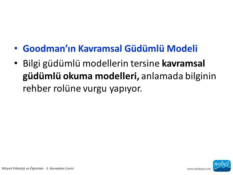 Goodman'ın Kavramsal Güdümlü Modeli Bilgi güdümlü modellerin tersine kavramsal güdümlü okuma modelleri, anlamada bilginin rehber rolüne vurgu yapıyor.