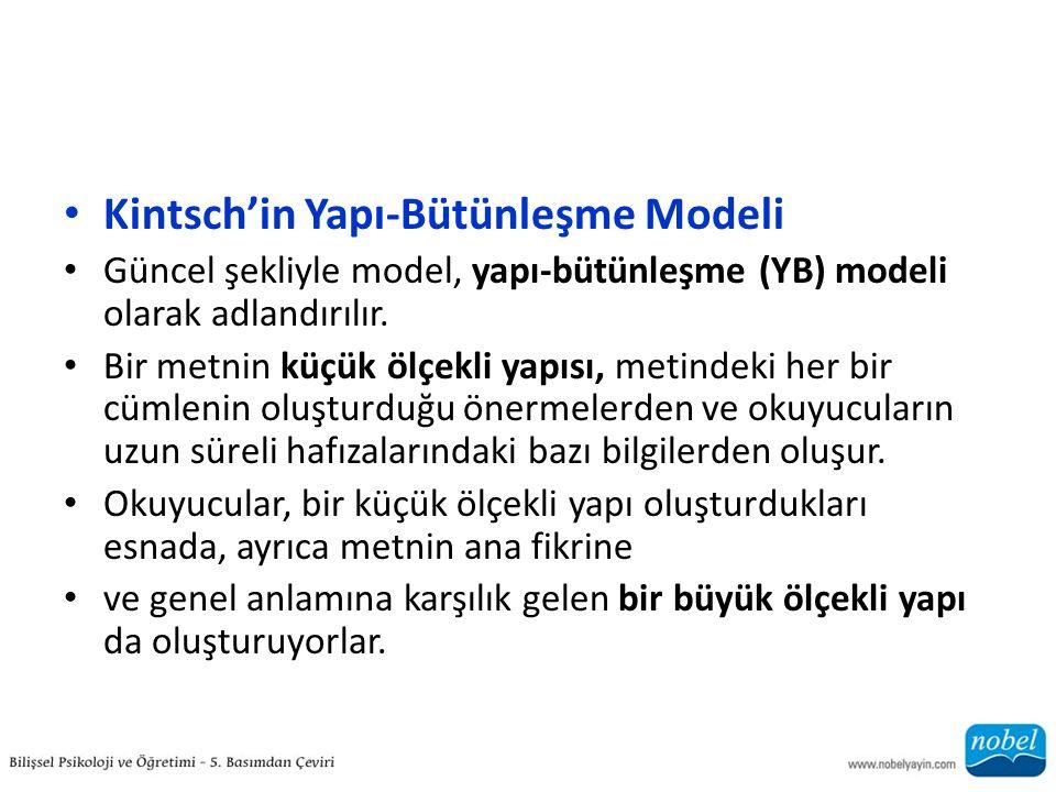 Kintsch'in Yapı-Bütünleşme Modeli Güncel şekliyle model, yapı-bütünleşme (YB) modeli olarak adlandırılır. Bir metnin küçük ölçekli yapısı, metindeki h