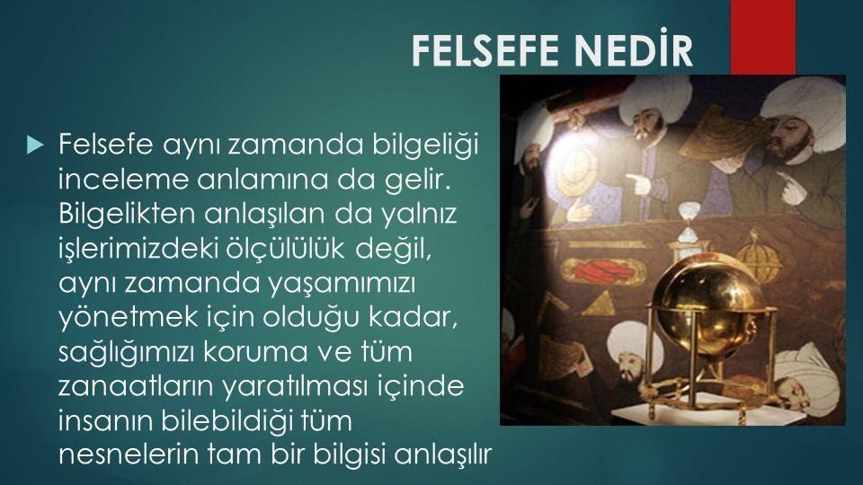 FELSEFE NEDİR  Felsefe aynı zamanda bilgeliği inceleme anlamına da gelir.