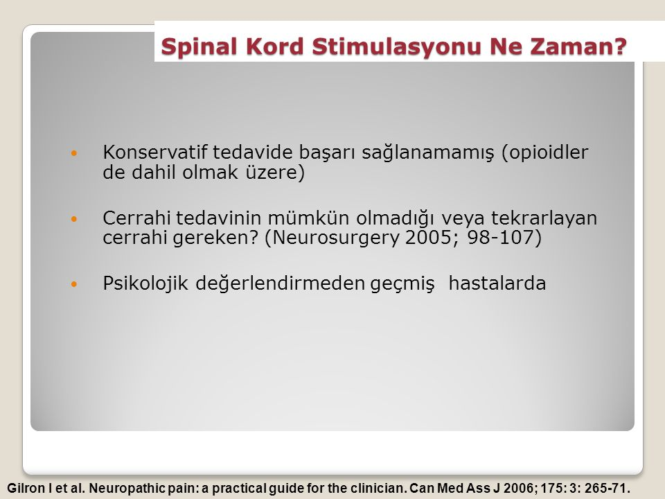 Spinal Kord Stimulasyonu Ne Zaman.