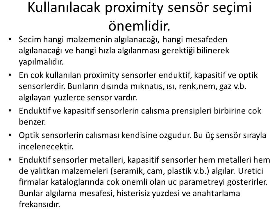 Kullanılacak proximity sensör seçimi önemlidir. Secim hangi malzemenin algılanacağı, hangi mesafeden algılanacağı ve hangi hızla algılanması gerektiği