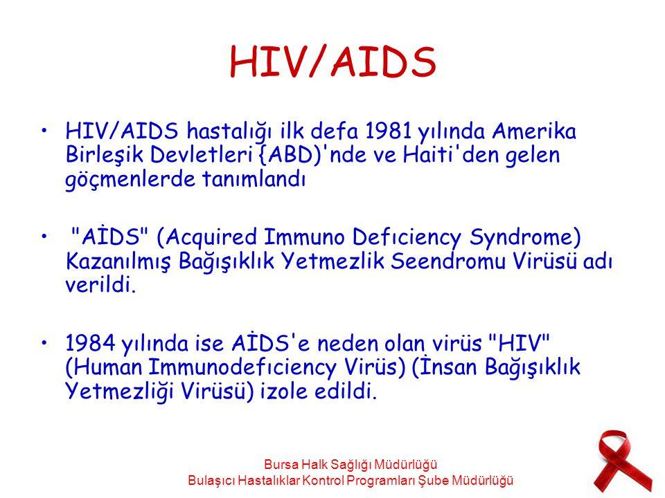 HIV/AIDS HIV/AIDS hastalığı ilk defa 1981 yılında Amerika Birleşik Devletleri {ABD) nde ve Haiti den gelen göçmenlerde tanımlandı AİDS (Acquired Immuno Defıciency Syndrome) Kazanılmış Bağışıklık Yetmezlik Seendromu Virüsü adı verildi.