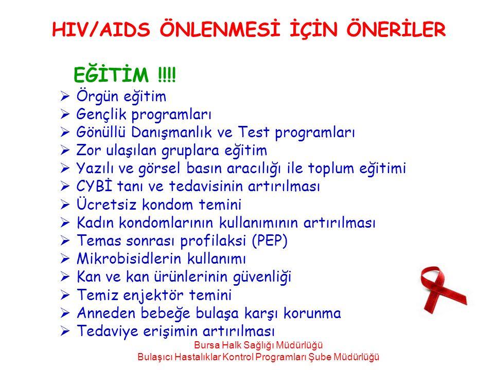 HIV/AIDS ÖNLENMESİ İÇİN ÖNERİLER EĞİTİM !!!!  Örgün eğitim  Gençlik programları  Gönüllü Danışmanlık ve Test programları  Zor ulaşılan gruplara eğ