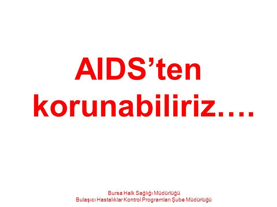 AIDS'ten korunabiliriz…. Bursa Halk Sağlığı Müdürlüğü Bulaşıcı Hastalıklar Kontrol Programları Şube Müdürlüğü