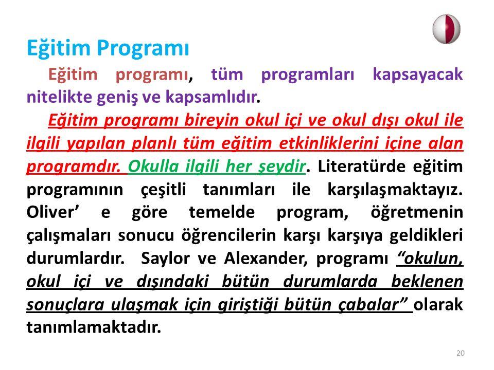 Bir eğitim programında bulunması gereken ilkeler: 1.