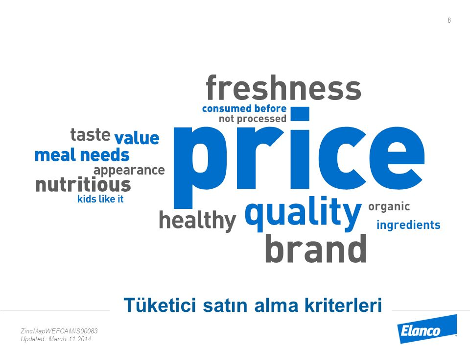 8 ZincMapWEFCAMIS00083 Updated: March 11 2014 Tüketici satın alma kriterleri