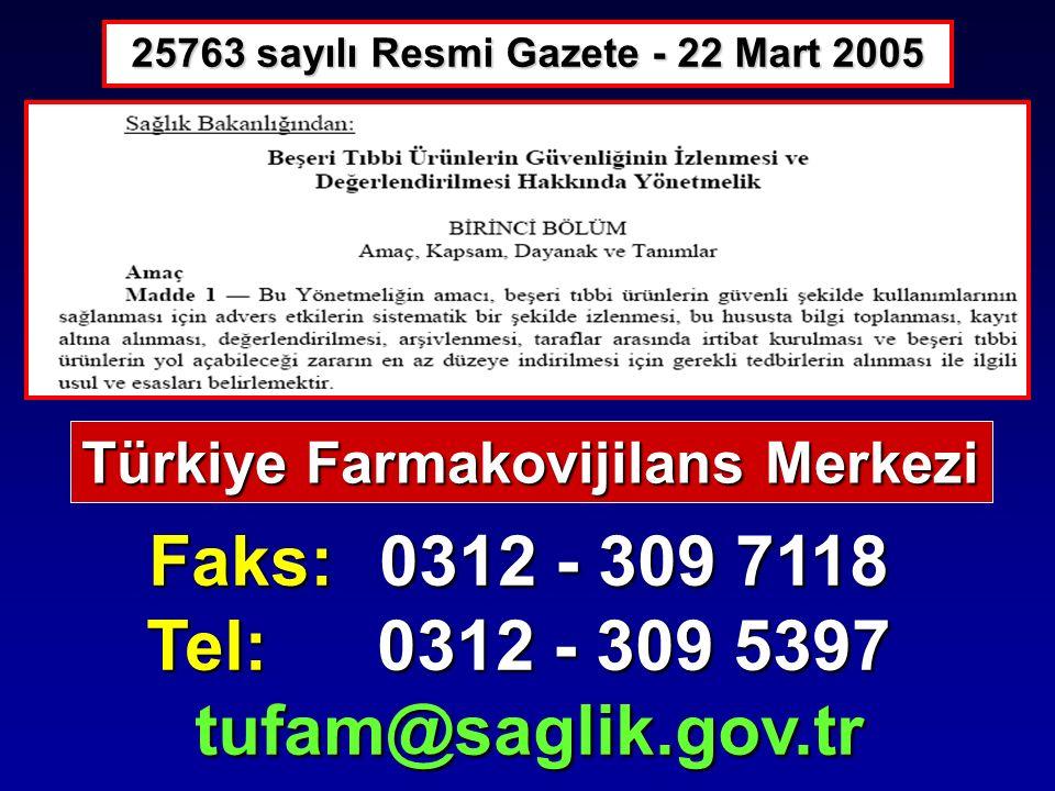 25763 sayılı Resmi Gazete - 22 Mart 2005 Faks: 0312 - 309 7118 Tel: 0312 - 309 5397 tufam@saglik.gov.tr tufam@saglik.gov.tr Türkiye Farmakovijilans Me