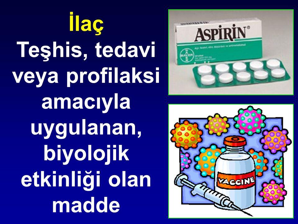 İlaç Teşhis, tedavi veya profilaksi amacıyla uygulanan, biyolojik etkinliği olan madde