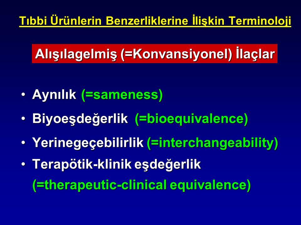 Tıbbi Ürünlerin Benzerliklerine İlişkin Terminoloji Aynılık(=sameness)Aynılık(=sameness) Biyoeşdeğerlik (=bioequivalence)Biyoeşdeğerlik (=bioequivalen