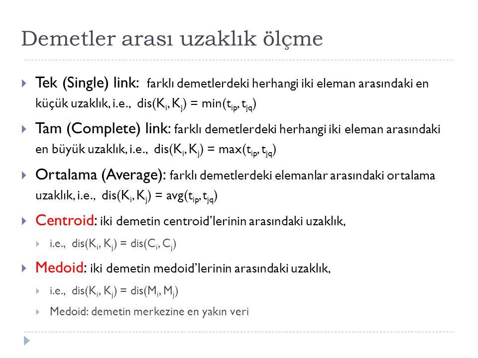 Demetler arası uzaklık ölçme  Tek (Single) link: farklı demetlerdeki herhangi iki eleman arasındaki en küçük uzaklık, i.e., dis(K i, K j ) = min(t ip