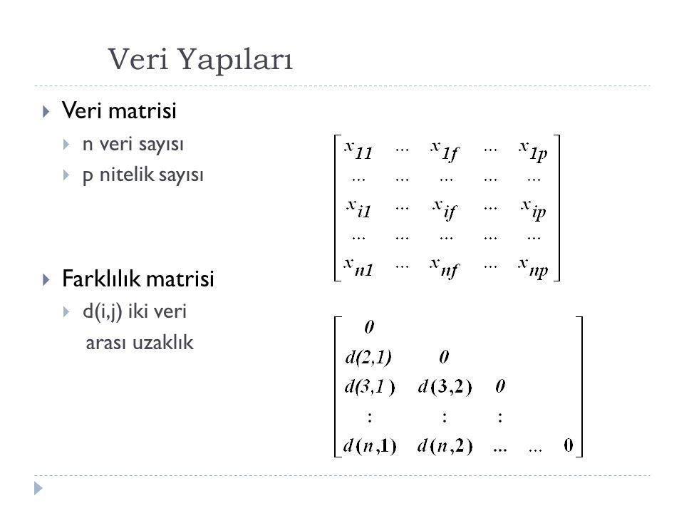 Veri Yapıları  Veri matrisi  n veri sayısı  p nitelik sayısı  Farklılık matrisi  d(i,j) iki veri arası uzaklık