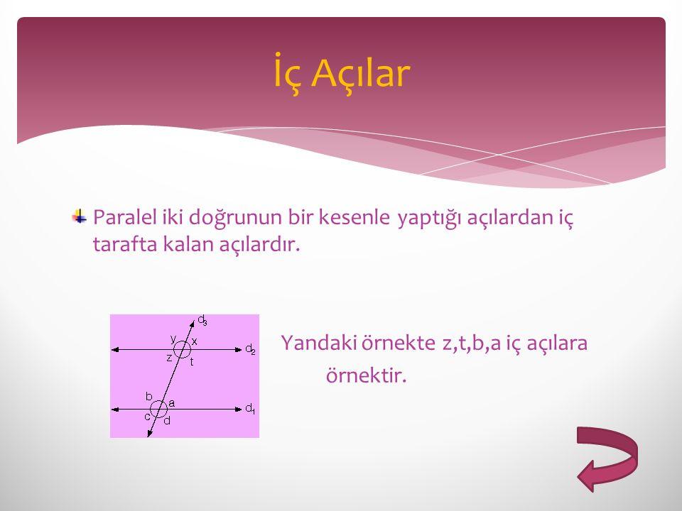 Paralel iki doğrunun bir kesenle yaptığı açılardan iç tarafta kalan açılardır. Yandaki örnekte z,t,b,a iç açılara örnektir. İç Açılar