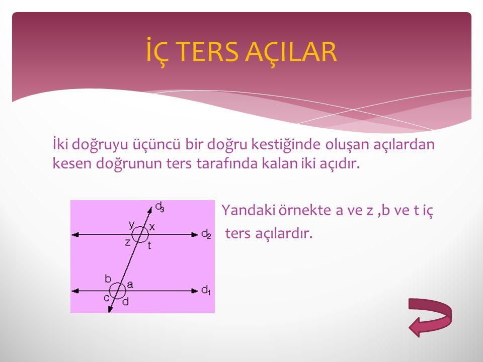İki doğruyu üçüncü bir doğru kestiğinde oluşan açılardan kesen doğrunun ters tarafında kalan iki açıdır. Yandaki örnekte a ve z,b ve t iç ters açılard