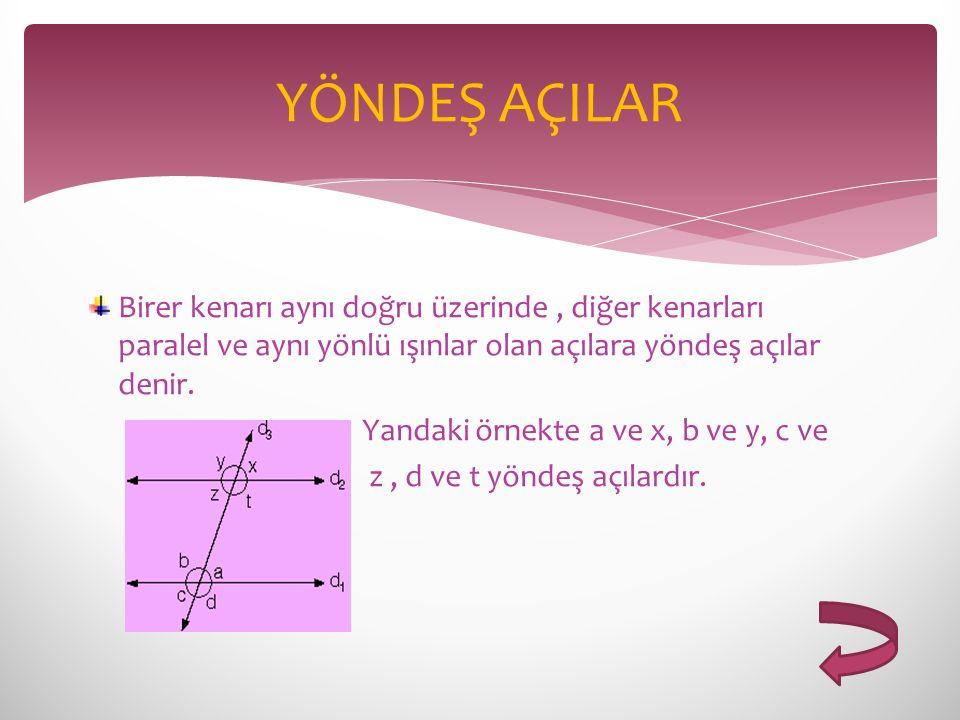 Birer kenarı aynı doğru üzerinde, diğer kenarları paralel ve aynı yönlü ışınlar olan açılara yöndeş açılar denir. Yandaki örnekte a ve x, b ve y, c ve