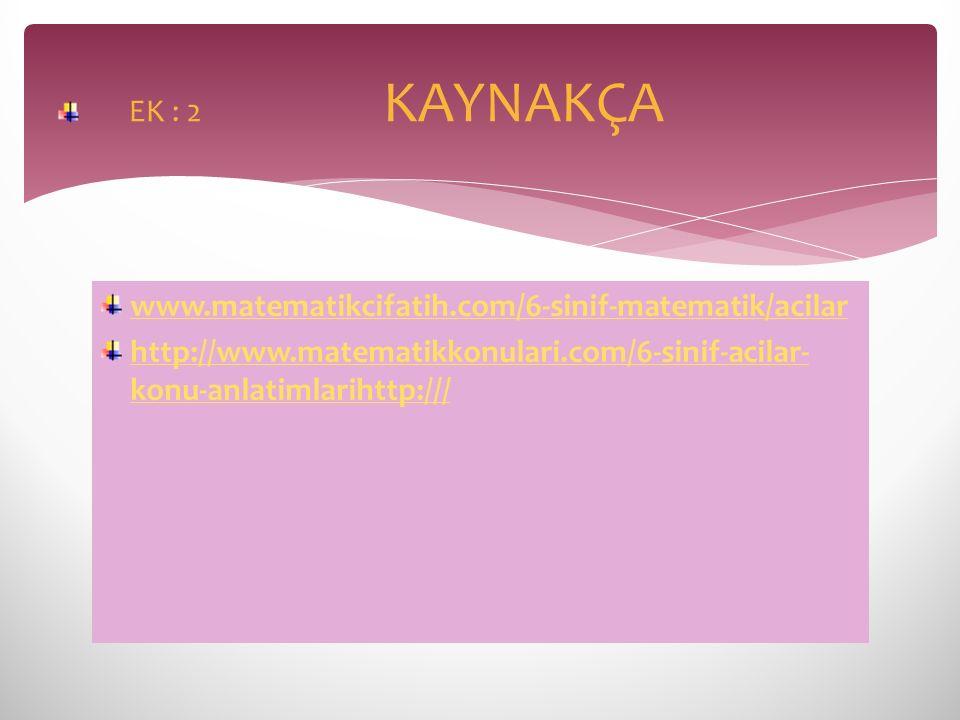 www.matematikcifatih.com/6-sinif-matematik/acilar http://www.matematikkonulari.com/6-sinif-acilar- konu-anlatimlarihttp:/// EK : 2 KAYNAKÇA