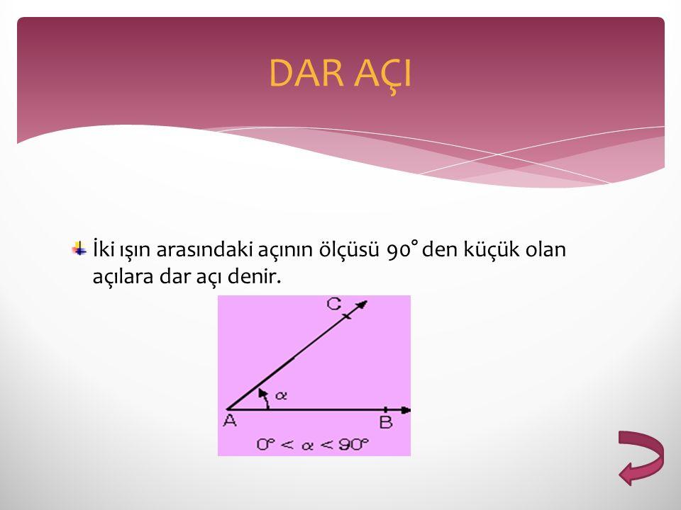 İki ışın arasındaki açının ölçüsü 90° den küçük olan açılara dar açı denir. DAR AÇI