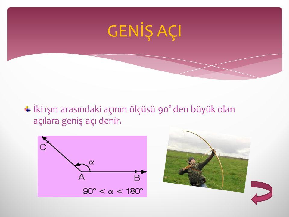 GENİŞ AÇI İki ışın arasındaki açının ölçüsü 90° den büyük olan açılara geniş açı denir.