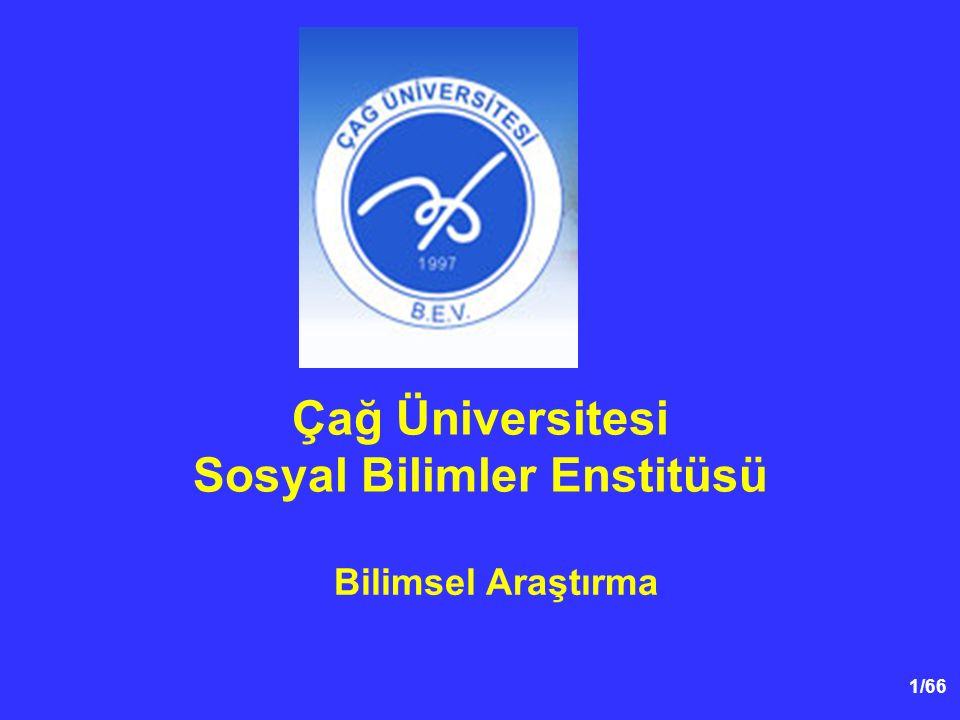 1/66 Çağ Üniversitesi Sosyal Bilimler Enstitüsü Bilimsel Araştırma