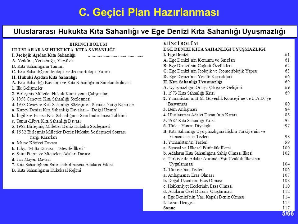 5/66 C.Geçici Plan Hazırlanması BİRİNCİ BÖLÜM ULUSLARARASI HUKUKTA KITA SAHANLIĞI I.