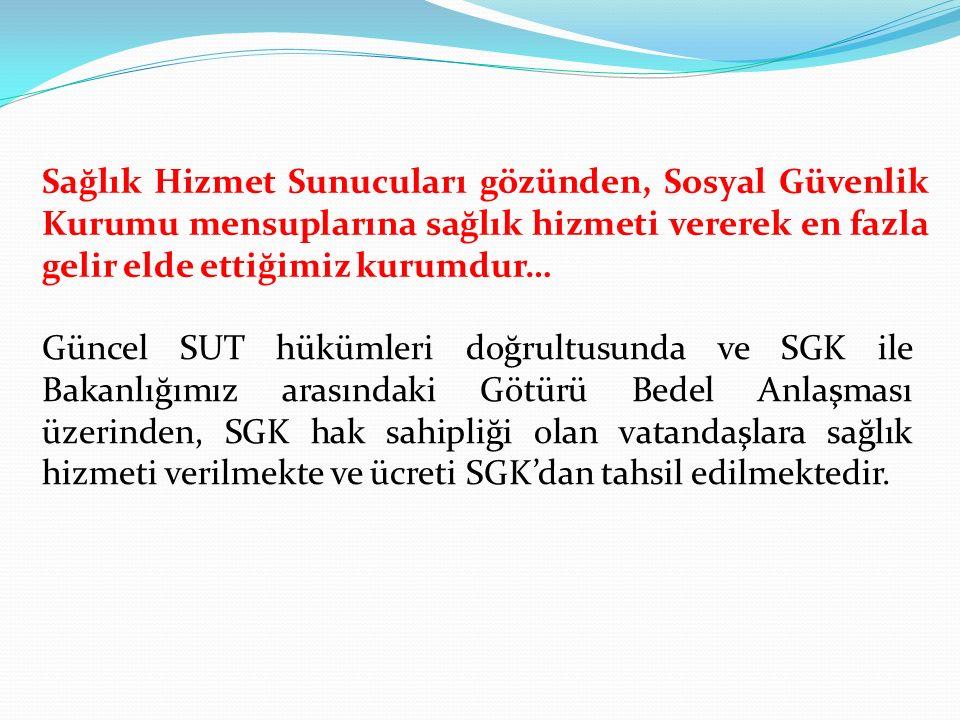 SGK kapsamı dışında hizmet verilen tüm resmi ve özel kurumlara, sosyal güvencesi ve sigortası olmayan ücretli hastalara, yabancı uyruklu vatandaşlara, banka ve yardım sandığı vakfı mensuplarına, adli vakalar, özel sağlık sigortalılar, 506 sayılı kanunun geçici 20.