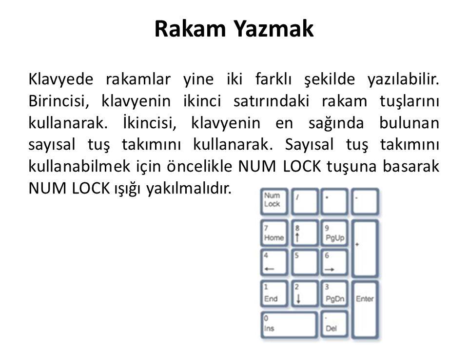 Rakam Yazmak Klavyede rakamlar yine iki farklı şekilde yazılabilir. Birincisi, klavyenin ikinci satırındaki rakam tuşlarını kullanarak. İkincisi, klav