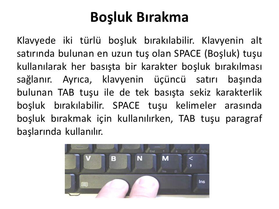 Boşluk Bırakma Klavyede iki türlü boşluk bırakılabilir. Klavyenin alt satırında bulunan en uzun tuş olan SPACE (Boşluk) tuşu kullanılarak her basışta