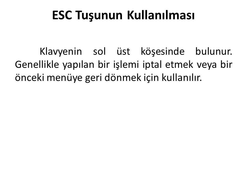 ESC Tuşunun Kullanılması Klavyenin sol üst köşesinde bulunur. Genellikle yapılan bir işlemi iptal etmek veya bir önceki menüye geri dönmek için kullan