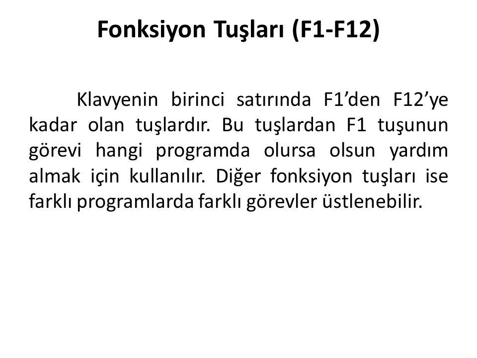 Fonksiyon Tuşları (F1-F12) Klavyenin birinci satırında F1'den F12'ye kadar olan tuşlardır. Bu tuşlardan F1 tuşunun görevi hangi programda olursa olsun
