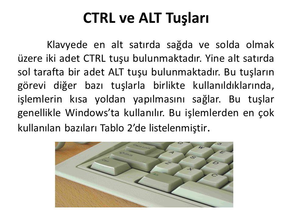 CTRL ve ALT Tuşları Klavyede en alt satırda sağda ve solda olmak üzere iki adet CTRL tuşu bulunmaktadır. Yine alt satırda sol tarafta bir adet ALT tuş