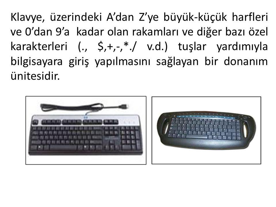 Klavye, üzerindeki A'dan Z'ye büyük-küçük harfleri ve 0'dan 9'a kadar olan rakamları ve diğer bazı özel karakterleri (., $,+,-,*./ v.d.) tuşlar yardım