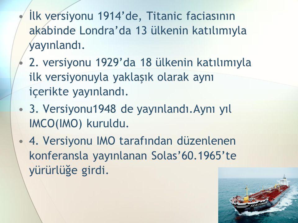 İlk versiyonu 1914'de, Titanic faciasının akabinde Londra'da 13 ülkenin katılımıyla yayınlandı. 2. versiyonu 1929'da 18 ülkenin katılımıyla ilk versiy